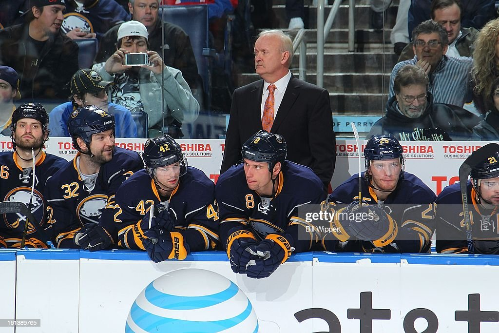 Head coach Lindy Ruff and Buffalo Sabres players await the start of a shootout against the Montreal Canadiens on February 7, 2013 at the First Niagara Center in Buffalo, New York.