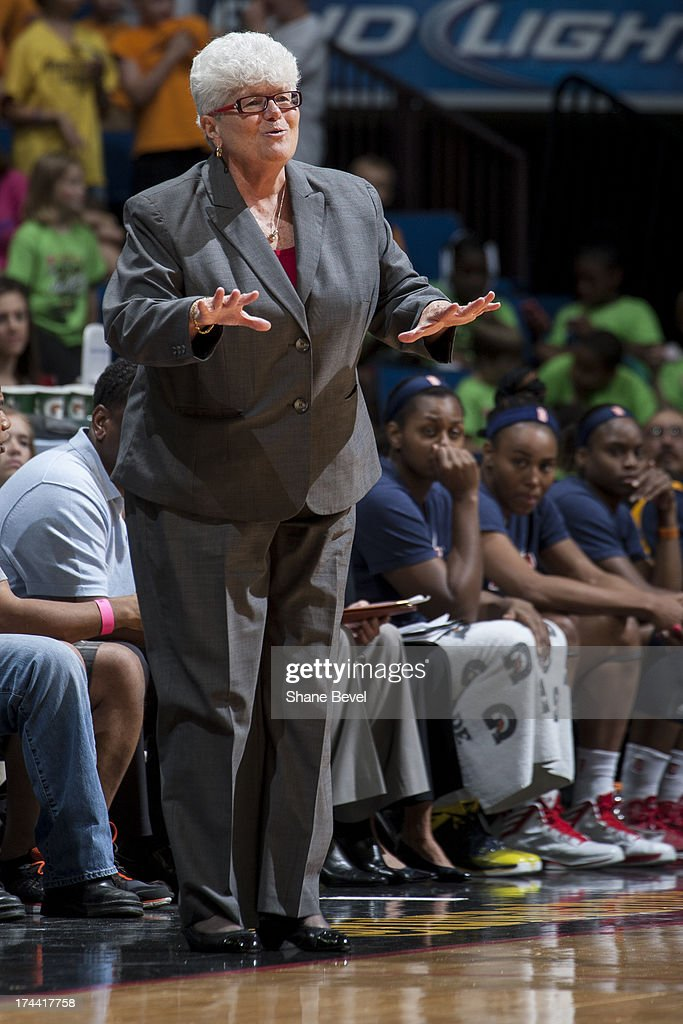 Head Coach Linn Dunn of the Indiana Fever tells her players to slow the game down during the WNBA game against the Tulsa Shock on July 25, 2013 at the BOK Center in Tulsa, Oklahoma.