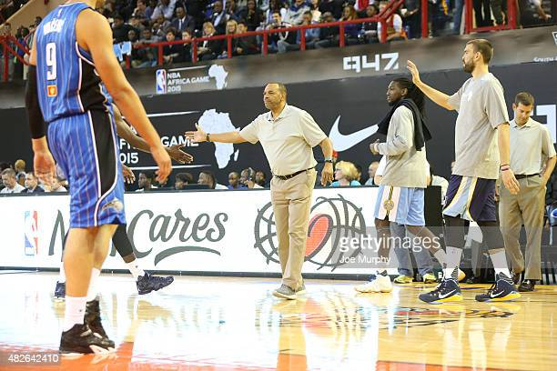 Head Coach Lionel Hollins of Team World against Team Africa during the NBA Africa Game 2015 as part of Basketball Without Boarders on August 1 2015...