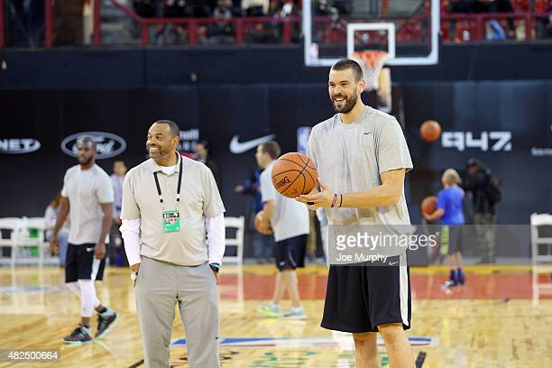 Head Coach Lionel Hollins of Team World with player Marc Gasol of Team World during practice for the NBA Africa Game 2015 as part of Basketball...