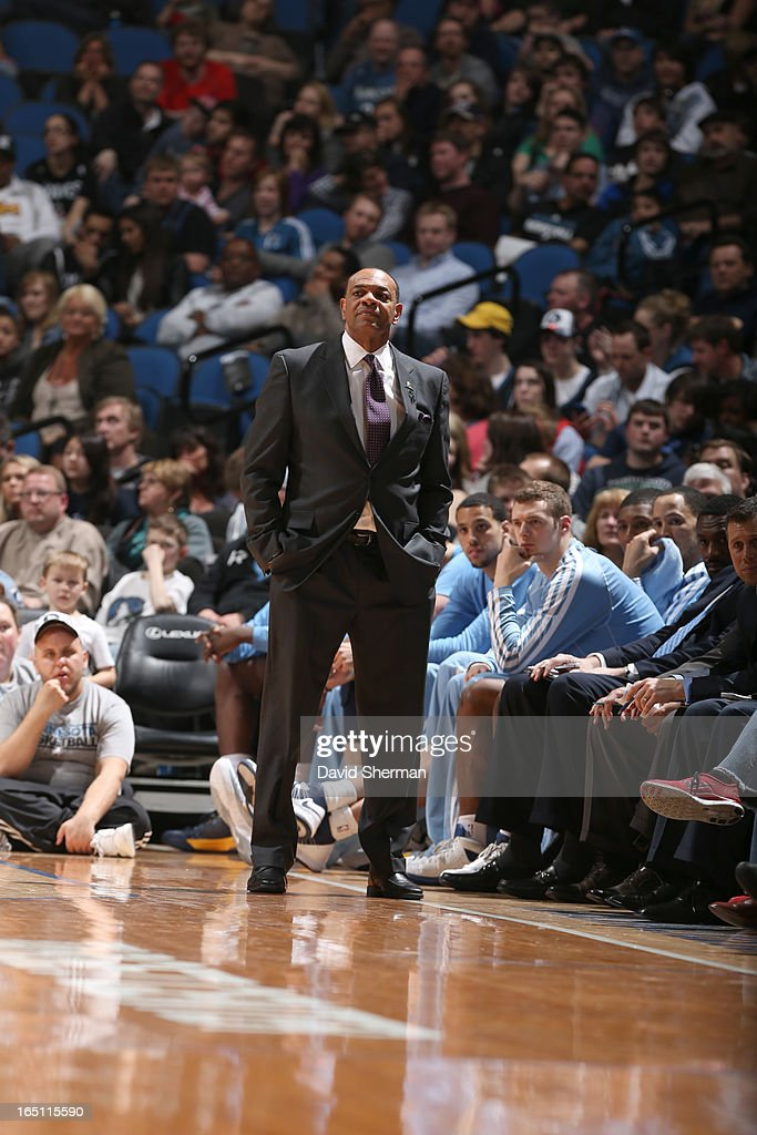 Head Coach Lionel Hollins of the Memphis Grizzlies looks on during the game between the Memphis Grizzlies and the Minnesota Timberwolves on March 30, 2013 at Target Center in Minneapolis, Minnesota.