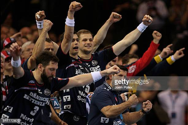 Head coach Ljubomir Vranjes of Flensburg celebrates during the Velux EHF Champions League round of 16 second leg match between SG Flensburg Handewitt...
