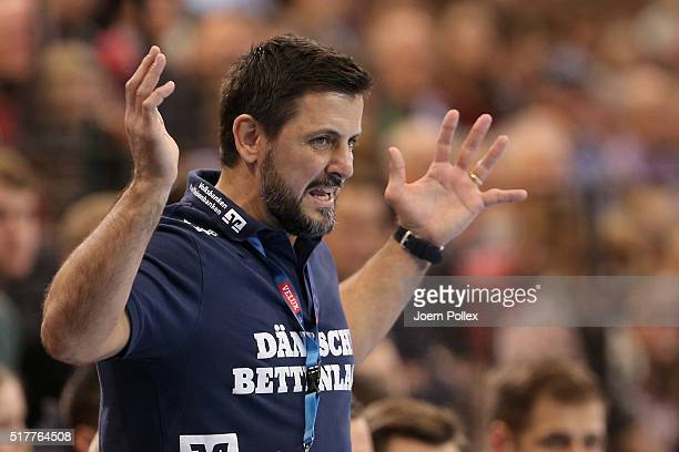 Head coach Ljubomir Vranjes of Flensburg gestures during the Velux EHF Champions League round of 16 second leg match between SG Flensburg Handewitt...