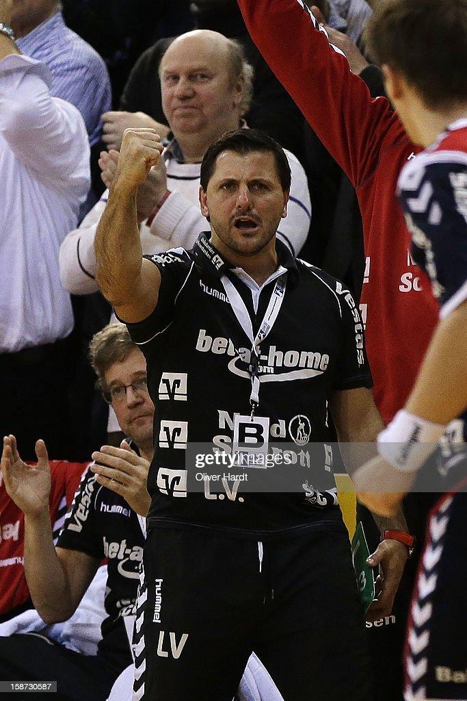 Head coach Ljubomir Vranjes of Flensburg reacts during the DKB Handball Bundesliga match between Flensburg-Handewitt and THW Kiel at Campus Hall on December 26, 2012 in Flensburg, Germany.