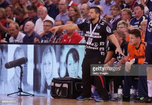 head coach Ljubomir Vranjes of SG Flensburg Handewitt reacts during the Game SG Flensburg Handewitt v Rhein Neckar Loewen at FlensArena on May 28...