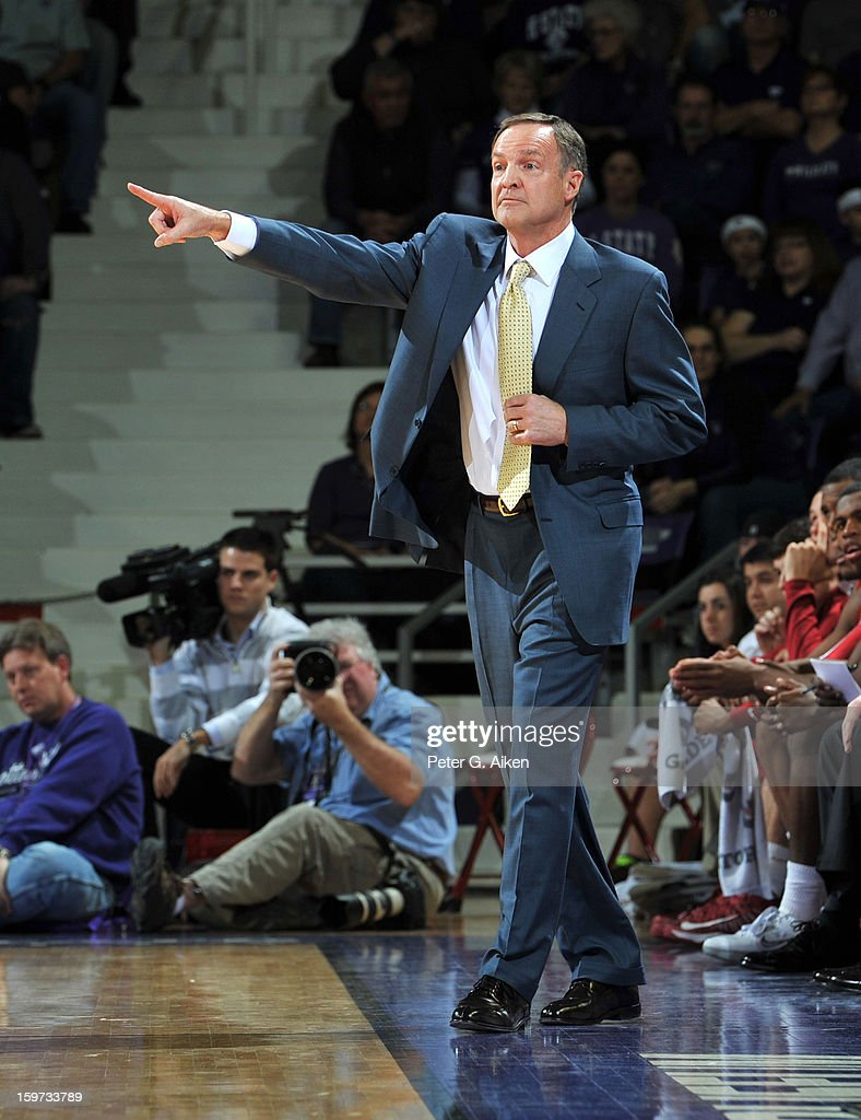 Head coach Lon Kruger of the Oklahoma Sooners points out some instructions against the Kansas State Wildcats during the first half on January 19, 2013 at Bramlage Coliseum in Manhattan, Kansas. Kansas State defeated Oklahoma 69-60.