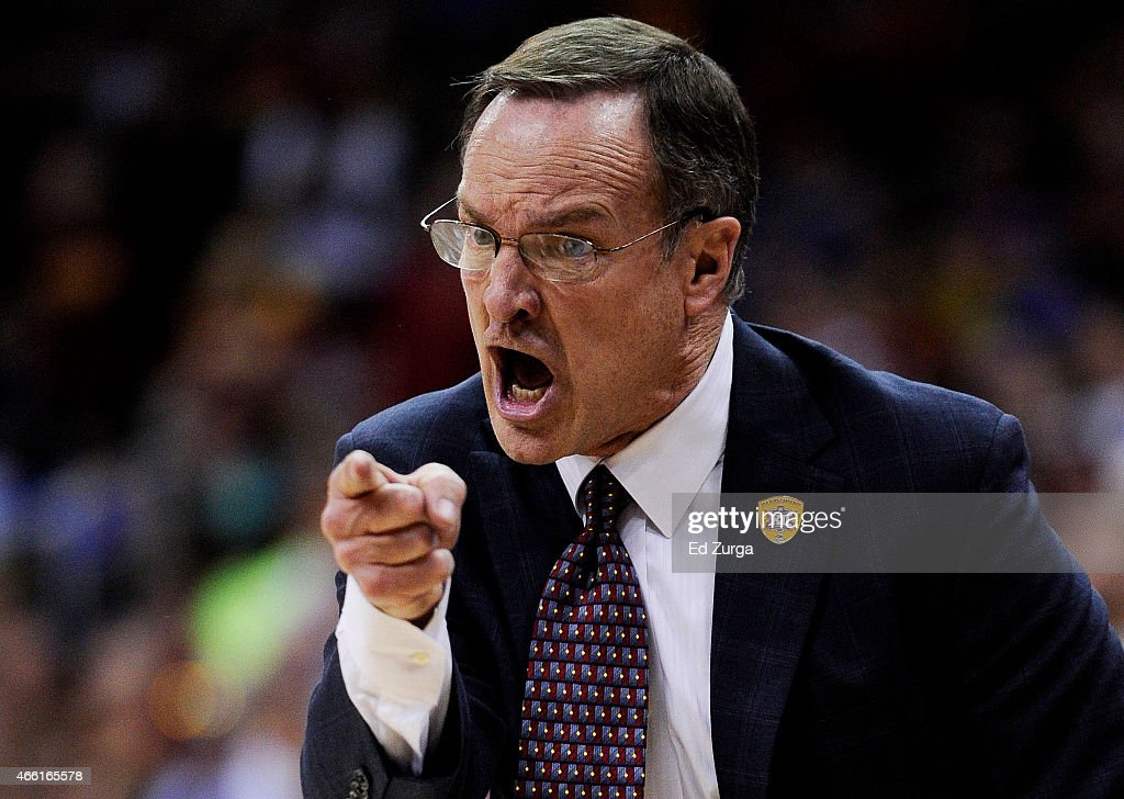 Head coach <a gi-track='captionPersonalityLinkClicked' href=/galleries/search?phrase=Lon+Kruger&family=editorial&specificpeople=642672 ng-click='$event.stopPropagation()'>Lon Kruger</a> of the Oklahoma Sooners reacts in the second half against the Iowa State Cyclones during a semifinal game of the 2015 Big 12 Basketball Tournament at Sprint Center on March 13, 2015 in Kansas City, Missouri.