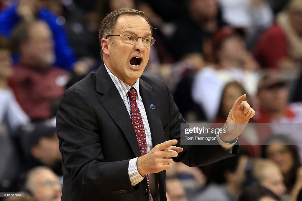 Head coach <a gi-track='captionPersonalityLinkClicked' href=/galleries/search?phrase=Lon+Kruger&family=editorial&specificpeople=642672 ng-click='$event.stopPropagation()'>Lon Kruger</a> of the Oklahoma Sooners reacts in the second half against the Virginia Commonwealth Rams during the second round of the 2016 NCAA Men's Basketball Tournament at Chesapeake Energy Arena on March 20, 2016 in Oklahoma City, Oklahoma.