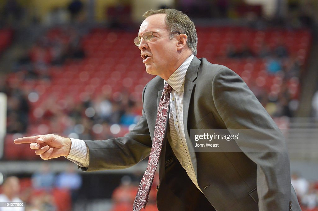 Head coach <a gi-track='captionPersonalityLinkClicked' href=/galleries/search?phrase=Lon+Kruger&family=editorial&specificpeople=642672 ng-click='$event.stopPropagation()'>Lon Kruger</a> of the Oklahoma Sooners reacts to a play during the game against the Texas Tech Red Raiders on February 21, 2015 at United Supermarkets Arena in Lubbock, Texas. Oklahoma defeated Texas Tech 79-75 in overtime.