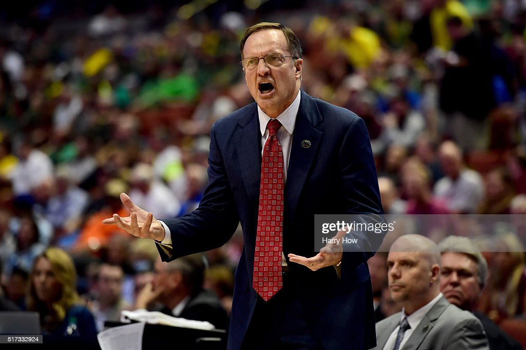 Head coach <a gi-track='captionPersonalityLinkClicked' href=/galleries/search?phrase=Lon+Kruger&family=editorial&specificpeople=642672 ng-click='$event.stopPropagation()'>Lon Kruger</a> of the Oklahoma Sooners reacts while taking on the Texas A&M Aggies in the 2016 NCAA Men's Basketball Tournament West Regional at the Honda Center on March 24, 2016 in Anaheim, California.