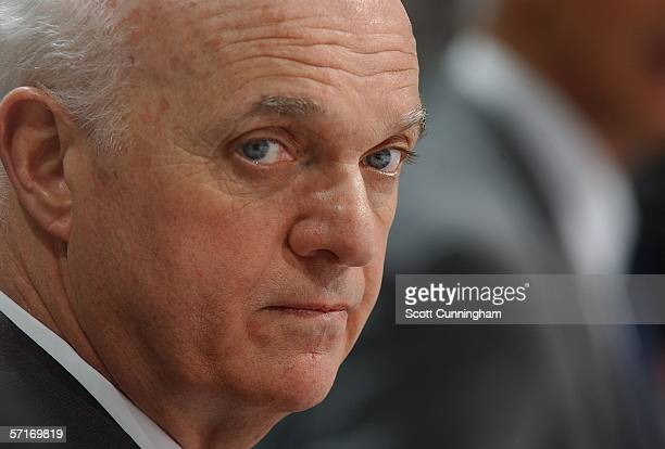Head Coach Lou Lamoriello of the New Jersey Devils watches the action against the Atlanta Thrashers on March 23 2006 at Philips Arena in Atlanta...