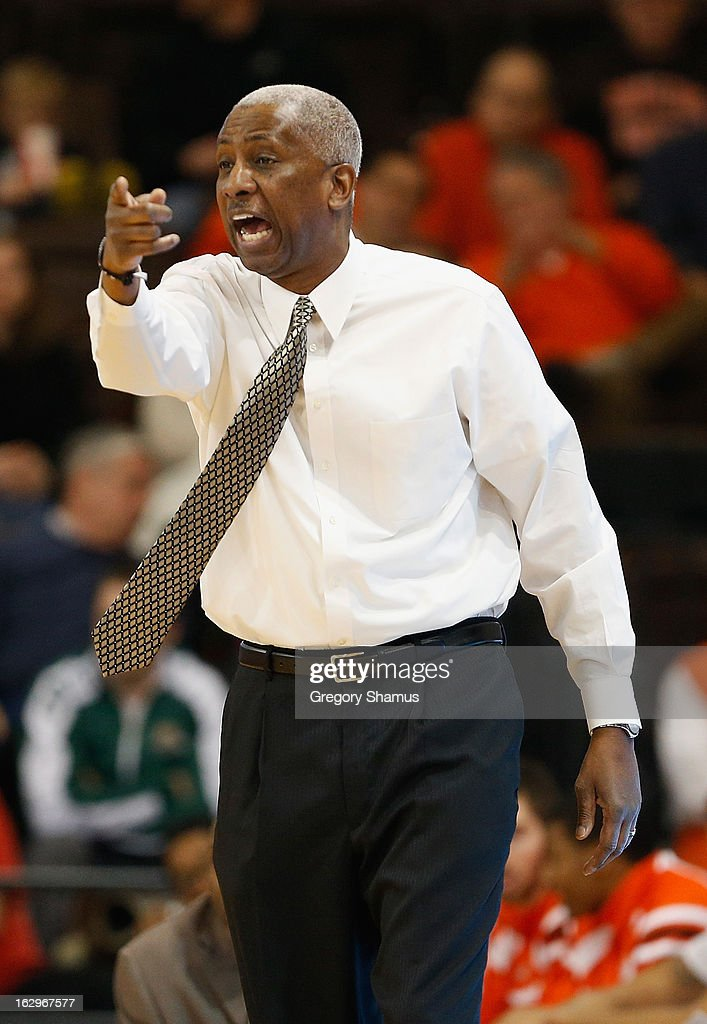 Head coach Louis Orr of the Bowling Green Falcons yells from the bench during the second half while playing the Ohio Bobcats at the Stroh Center on March 2, 2013 in Bowling Green, Ohio.