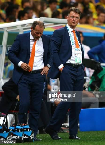 Head coach Louis van Gaal and assistant coach Danny Blind of the Netherlands look on during the 2014 FIFA World Cup Brazil Third Place Playoff match...