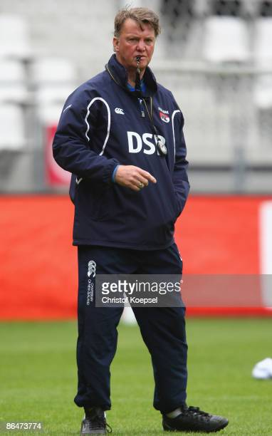 Head coach Louis van Gaal attends the training session of AZ Alkmaar at the DSB stadium on May 5 2009 in Alkmaar Netherlands