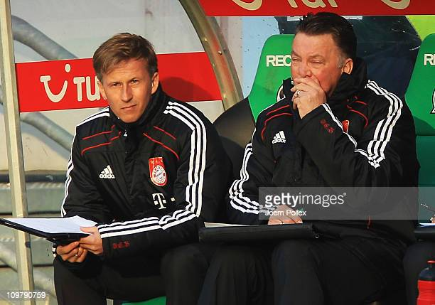 Head coach Louis van Gaal of Muenchen is seen during the Bundesliga match between Hannover 96 and FC Bayern Muenchen at AWD Arena on March 5 2011 in...