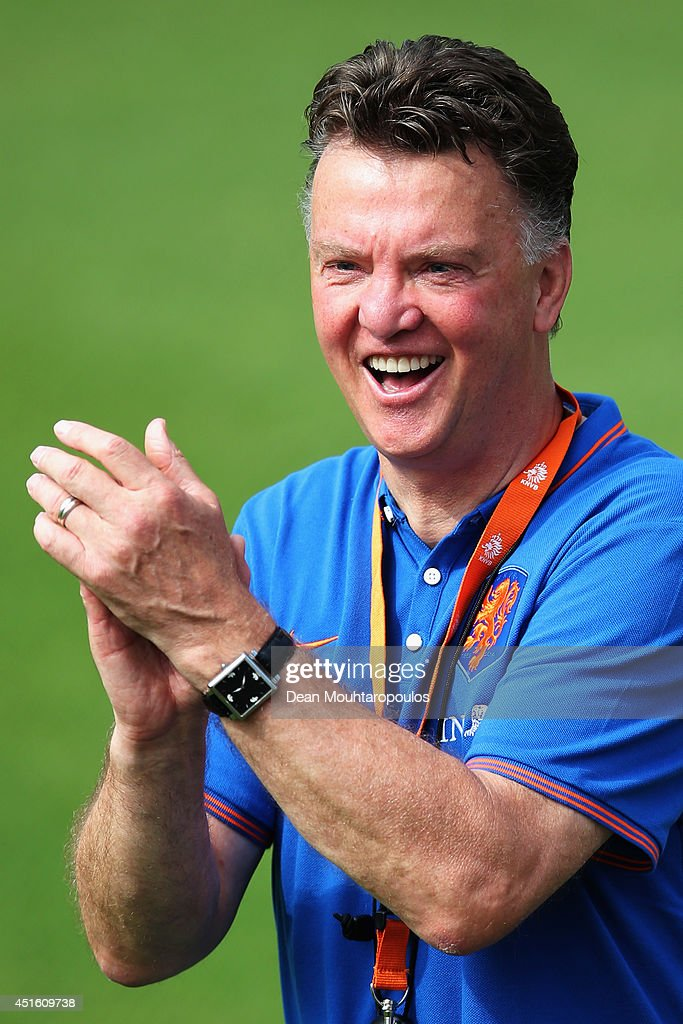 Head coach Louis van Gaal of the Netherlands laughs during the Netherlands training session at the 2014 FIFA World Cup Brazil held at the Estadio Jose Bastos Padilha Gavea on July 2, 2014 in Rio de Janeiro, Brazil.