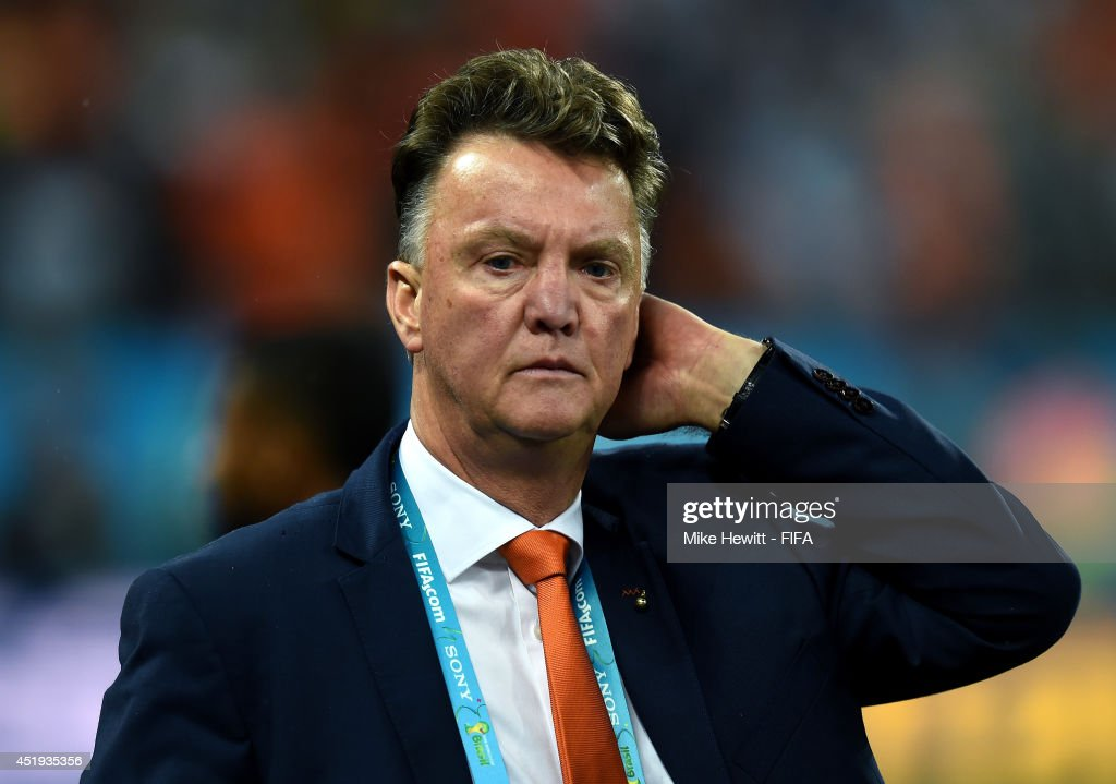 Head coach Louis van Gaal of the Netherlands reacts after the penalty shootout defeat in the 2014 FIFA World Cup Brazil Semi Final match between Netherlands and Argentina at Arena de Sao Paulo on July 9, 2014 in Sao Paulo, Brazil.
