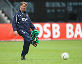 Head coach Louis van Gaal shoots the ball during the training session of AZ Alkmaar at the DSB stadium on May 5 2009 in Alkmaar Netherlands Dutch...