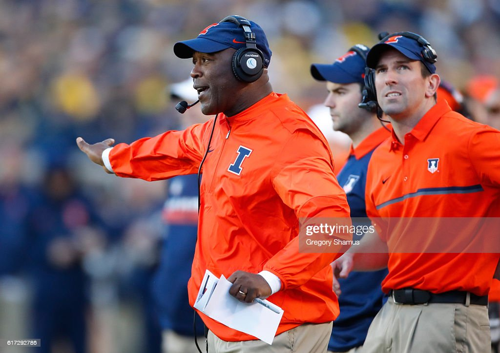 Head coach Lovie Smith looks on from the sideline while playing the Michigan Wolverines on October 22, 2016 at Michigan Stadium in Ann Arbor, Michigan.