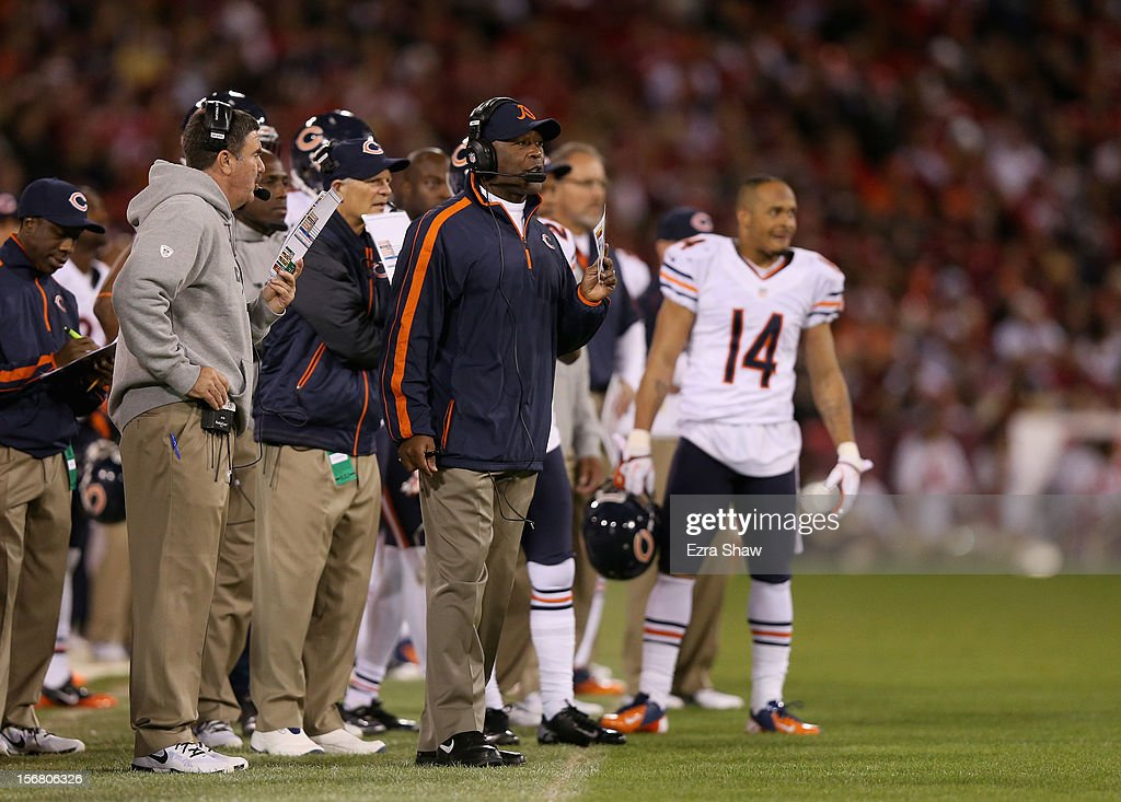 Head coach Lovie Smith of the Chicago Bears stands on the sidelines during their game against the San Francisco 49ers at Candlestick Park on November 19, 2012 in San Francisco, California.