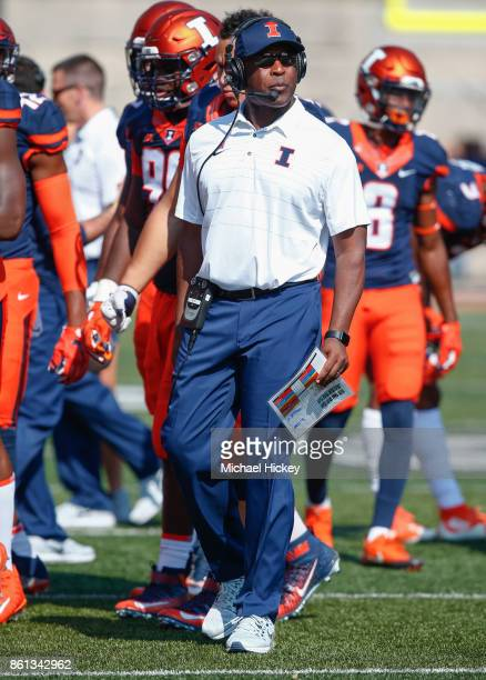 Head coach Lovie Smith of the Illinois Fighting Illini is seen during the game against the Rutgers Scarlet Knights at Memorial Stadium on October 14...