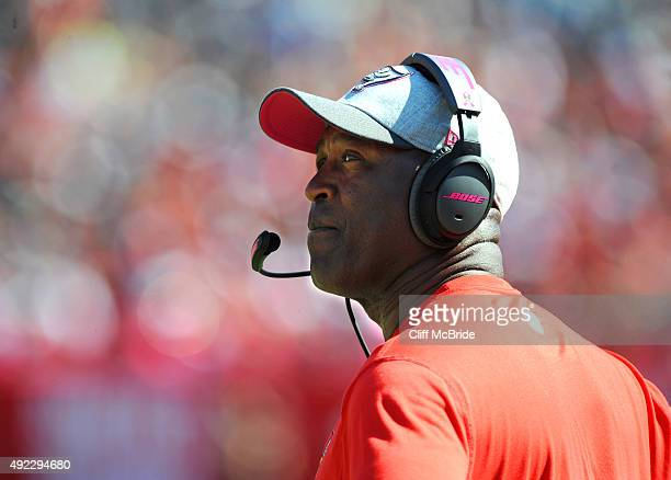 Head coach Lovie Smith of the Tampa Bay Buccaneers looks at the clock in the third quarter against the Jacksonville Jaguars at Raymond James Stadium...