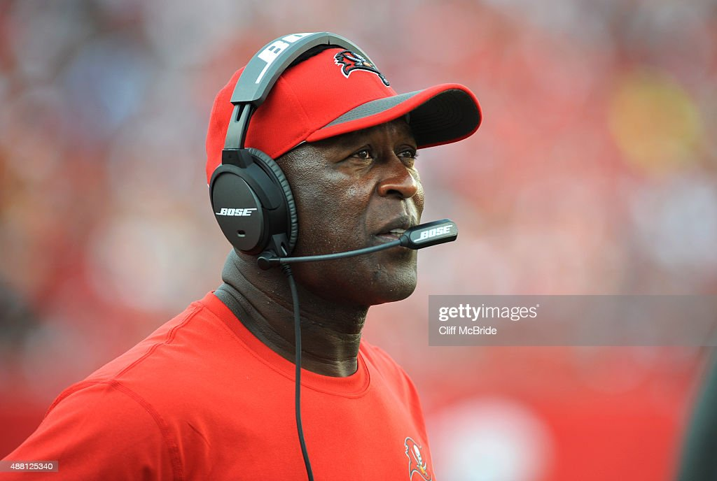 Head coach Lovie Smith of the Tampa Bay Buccaneers watches from the sideline against the Tennessee Titans at Raymond James Stadium on September 13, 2015 in Tampa, Florida.
