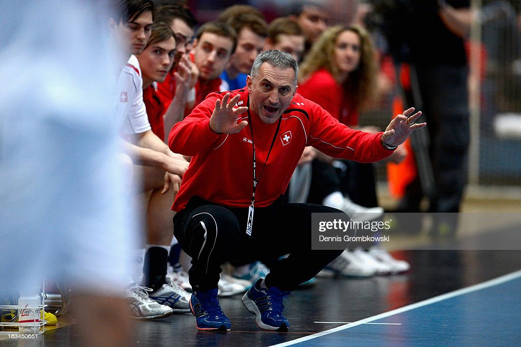 Head coach Lubomir Svajlen of Switzerland reacts during the DHB International Friendly match between Germany and Switzerland at Conlog-Arena on March 10, 2013 in Koblenz am Rhein, Germany.