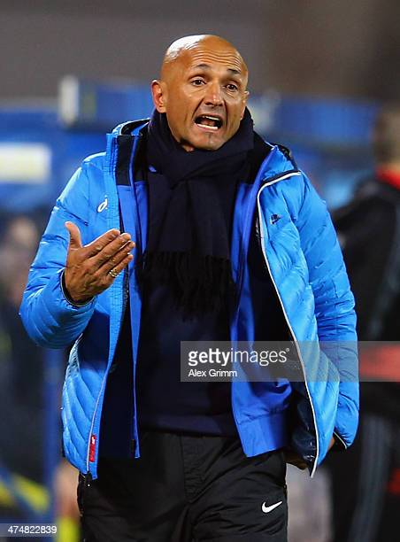 Head coach Luciano Spaletti of Zenit reacts during the UEFA Champions League Round of 16 match between FC Zenit and Borussia Dortmund at Petrovsky...