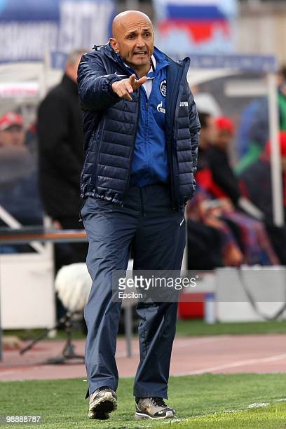 Head coach Luciano Spalletti of FC Zenit St Petersburg gestures during the Russian Football League Championship match between FC Zenit St Petersburg...