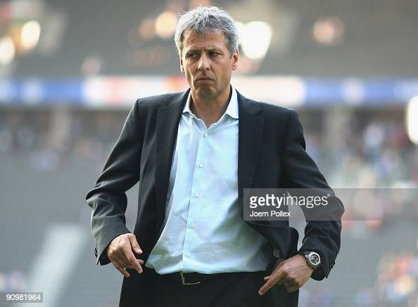 Head coach Lucien Favre of Berlin looks on prior to the Bundesliga match between Hertha BSC Berlin and SC Freiburg at Olympic Stadium on September 20...