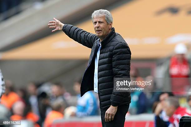 Head Coach Lucien Favre of Borussia Moenchengladbach during the Bundesliga match between 1 FC Koeln and Borussia Moenchengladbach at...
