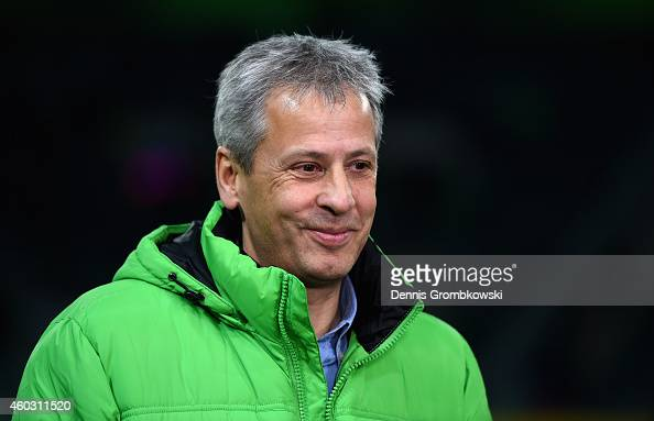 Head coach Lucien Favre of Borussia Moenchengladbach looks on prior to the UEFA Europa League group stage match between VfL Borussia Moenchengladbach...