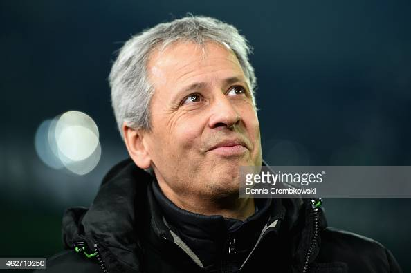 Head coach Lucien Favre of Borussia Moenchengladbach looks on prior to the Bundesliga match between Borussia Moenchengladbach and SC Freiburg at...