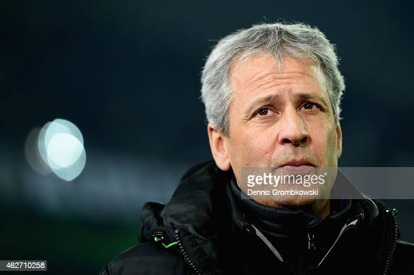 Head coach Lucien Favre of Borussia Moenchengladbach looks on prior to the Bundesliga match between Borussia Moenchengladbach and SC Freiburg at...