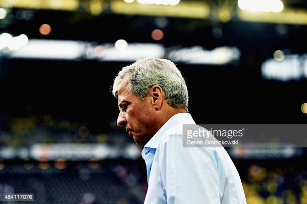 Head coach Lucien Favre of Borussia Moenchengladbach looks on prior to kickoff during the Bundesliga match between Borussia Dortmund and Borussia...