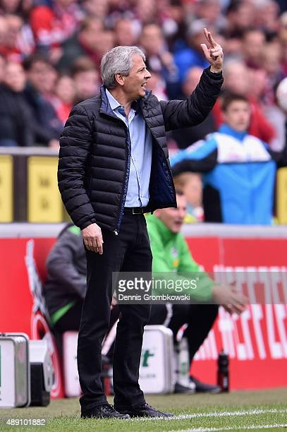 Head coach Lucien Favre of Borussia Moenchengladbach reacts during the Bundesliga match between 1 FC Koeln and Borussia Moenchengladbach at...