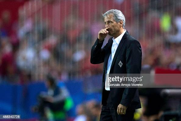 Head coach Lucien Favre of Borussia Monchengladbach gestures during the UEFA Champions League Group D match between Sevilla FC and VfL Borussia...