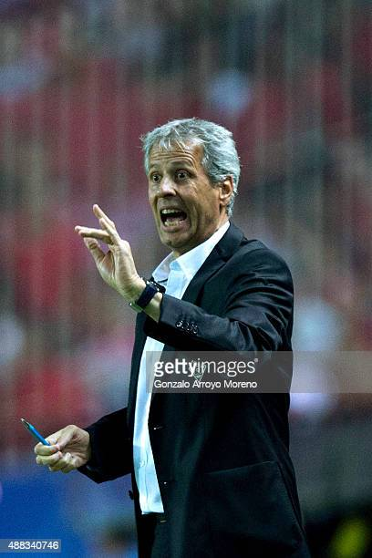 Head coach Lucien Favre of Borussia Monchengladbach gives instructions during the UEFA Champions League Group D match between Sevilla FC and VfL...