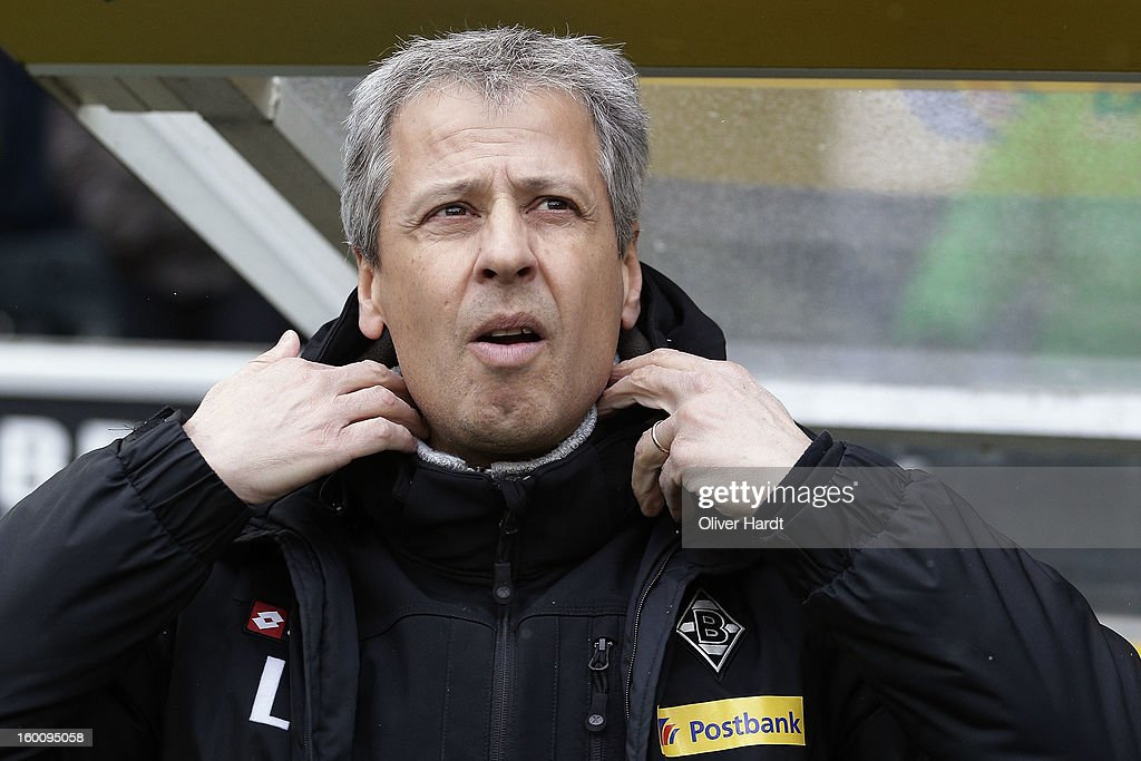 Head coach Lucien Favre of Gladbach looks on before at Bundesliga match between VfL Borussia Moenchengladbach v Fortuna Duesseldorf at Borussia Park Stadium on January 26, 2013 in Moenchengladbach, Germany.