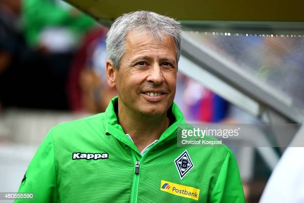 Head coach Lucien Favre of Moenchengladbach is seen during the Telekom Cup 2015 Semi Final match between Borussia Moenchegladbach and Hamburger SV at...