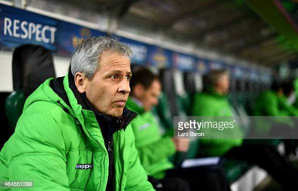 Head coach Lucien Favre of Moenchengladbach is seen during the UEFA Europa League Round of 32 second leg match between Borussia Moenchengladbach and...