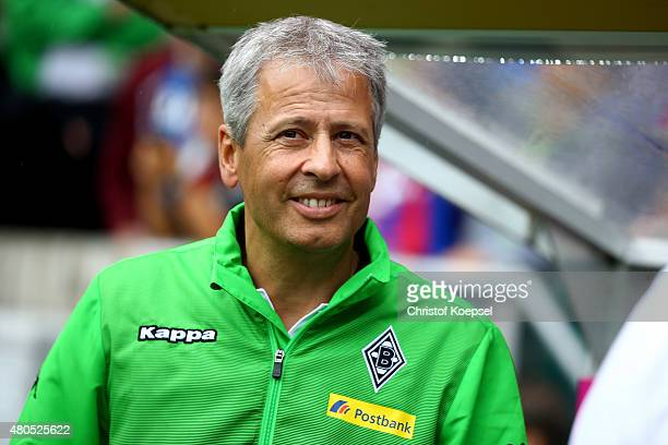 Head coach Lucien Favre of Moenchengladbach looks on prior to the Telekom Cup 2015 Semi Final match between Borussia Moenchegladbach and Hamburger SV...