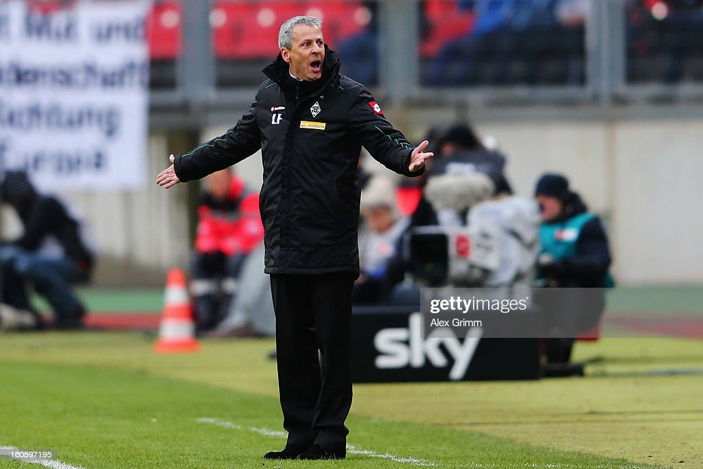 Head coach <a gi-track='captionPersonalityLinkClicked' href=/galleries/search?phrase=Lucien+Favre&family=editorial&specificpeople=4313368 ng-click='$event.stopPropagation()'>Lucien Favre</a> of Moenchengladbach reacts during the Bundesliga match between 1. FC Nuernberg and VfL Borussia Moenchengladbach at Easy Credit Stadium on February 3, 2013 in Nuremberg, Germany.
