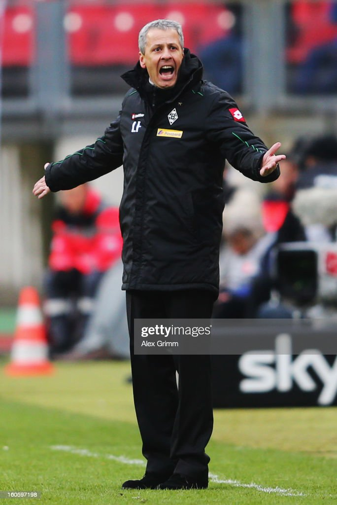 Head coach Lucien Favre of Moenchengladbach reacts during the Bundesliga match between 1. FC Nuernberg and VfL Borussia Moenchengladbach at Easy Credit Stadium on February 3, 2013 in Nuremberg, Germany.