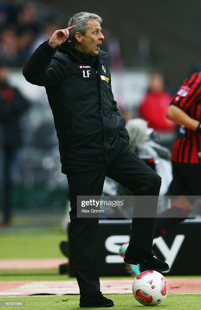 Head coach Lucien Favre of Moenchengladbach reacts during the Bundesliga match between Eintracht Frankfurt and Borussia Moenchengladbach at Commerzbank-Arena on March 1, 2013 in Frankfurt am Main, Germany.