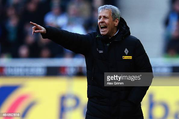 Head coach Lucien Favre of Moenchengladbach reacts during the Bundesliga match between Borussia Moenchengladbach and SC Paderborn 07 at Borussia Park...