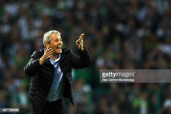 Head coach Lucien Favre of Moenchengladbach reacts during the Bundesliga match between Borussia Moenchengladbach and Hamburger SV at BorussiaPark on...