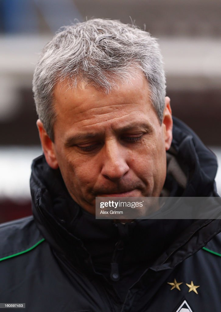 Head coach Lucien Favre of Moenchengladbach reacts prior to the Bundesliga match between 1. FC Nuernberg and VfL Borussia Moenchengladbach at Easy Credit Stadium on February 3, 2013 in Nuremberg, Germany.