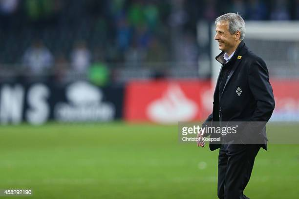 Head coach Lucien Favre of Moenchengladbach smiles after the Bundesliga match between Borussia Moenchengladbach and 1899 Hoffenheim at Borussia Park...
